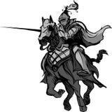 Mascote Jousting do cavaleiro no cavalo ilustração do vetor