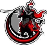 Mascote Jousting do cavaleiro no cavalo Fotos de Stock Royalty Free
