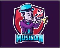 Mascote Logo Badge de Jazz Musician Playing Trumpet Cartoon ilustração stock