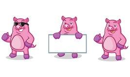 Mascote roxa do porco feliz Imagens de Stock Royalty Free