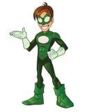 Mascote super verde dos desenhos animados do herói do menino Foto de Stock