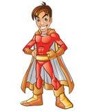 Mascote super vermelha dos desenhos animados do herói do menino Imagens de Stock Royalty Free