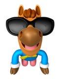 Mascote tradicional do cavalo 3D de Coreia dos óculos de sol do desgaste Fotos de Stock Royalty Free