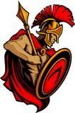 Mascote Trojan espartano com lança e protetor Imagens de Stock Royalty Free
