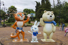 Mascots of the Olympic Games 2014. Mascots of the Olympic Games: Bunny, Bear and Leopard - on the street Navaginskaya Royalty Free Stock Photography