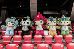 Mascots on parade. BEIJING, CHINA-CIRCA MARCH 2014:-The mascots for the beijing games 2008 sit dirty and neglected in the birds nest stadium Stock Photo