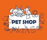 Mascots with pets shop set icons vector illustration