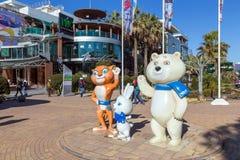 Mascots of Winter Olympics 2014. Sochi. Russia. Sochi, Russia - February 9, 2016: Sculptural composition - The three mascots of the Winter Olympics 2014 Stock Photo