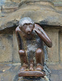 Mascott of Mons, Belgium. Medieval statue of monkey on Grand Place of Mons, Belgium Royalty Free Stock Images