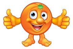 Mascotte arancio del carattere della frutta del fumetto Fotografie Stock Libere da Diritti