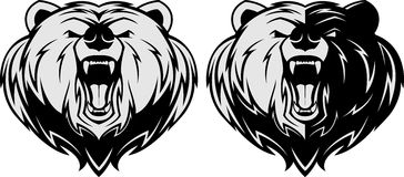 Mascotte arrabbiata della testa dell'orso Fotografia Stock