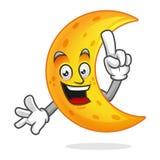 Mascotte astuta della luna, carattere abile della luna, vettore del fumetto della luna, Immagine Stock Libera da Diritti