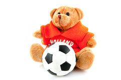 Mascotte bear with holland shirt and football Royalty Free Stock Photos