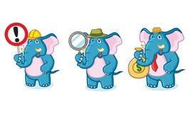 Mascotte bleue d'éléphant avec le signe Photo libre de droits