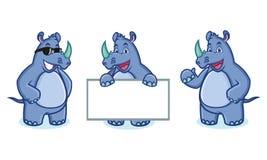 Mascotte blu di rinoceronte felice Immagini Stock