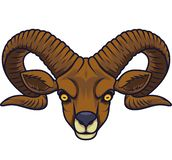 Mascotte capa della capra arrabbiata illustrazione vettoriale