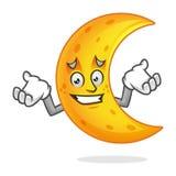 Mascotte confusa della luna, carattere della luna di errore, vettore del fumetto della luna Immagini Stock Libere da Diritti