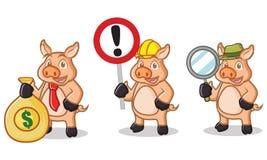 Mascotte crema del maiale con il segno Immagine Stock Libera da Diritti