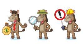 Mascotte d'âne de Brown avec le signe Image stock