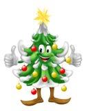 Mascotte d'arbre de Noël faisant des pouces vers le haut Photographie stock libre de droits