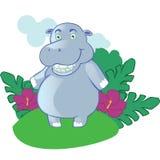 Mascotte d'hippopotame de bande dessinée sur le fond Images stock