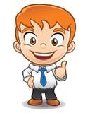 Mascotte d'homme d'affaires faisant correct, pouces  Illustration Stock