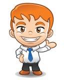 Mascotte d'homme d'affaires faisant la présentation Photo stock