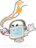 Mascotte d'ordinateur - écoutez le battement Photo stock