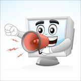 Mascotte d'ordinateur : Cris avec un mégaphone Images stock