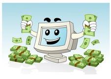 Mascotte d'ordinateur - obtenez beaucoup d'argent Images libres de droits