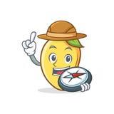 Mascotte de bande dessinée de caractère de mangue d'explorateur illustration libre de droits
