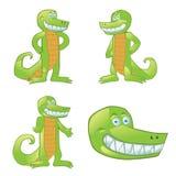 Mascotte de bande dessinée de crocodile dans différentes poses Image libre de droits