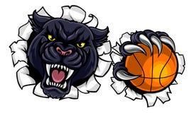 Mascotte de basket-ball de panthère noire Photos stock