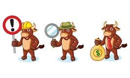 Mascotte de Brown de boeuf avec l'argent Image stock