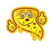 Mascotte de caractère de pizza de bande dessinée avec des pouces  illustration de vecteur