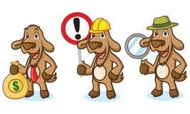 Mascotte de chèvre de Brown avec le signe Images libres de droits