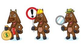 Mascotte de chèvre de Brown foncé avec le signe Photographie stock