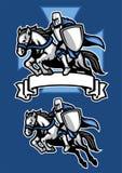 Mascotte de cheval d'équitation de guerrier de chevalier de Moyen Âge illustration libre de droits