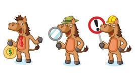 Mascotte de cheval de Brown avec l'argent Image libre de droits