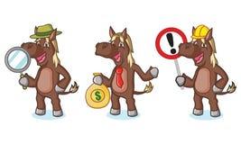 Mascotte de cheval de Brown foncé avec l'argent Images libres de droits