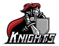 Mascotte de chevalier avec le bouclier illustration de vecteur
