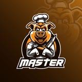 Mascotte de conception de logo de vecteur de chef avec le style moderne de concept d'illustration pour l'impression d'insigne, d' illustration de vecteur