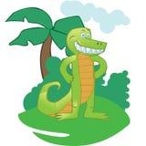 Mascotte de crocodile de bande dessinée sur le fond Photographie stock libre de droits