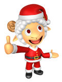 mascotte de 3D Santa Sheep que la main gauche guide et le droit soit Photo libre de droits