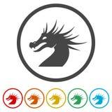 Mascotte de dragon, silhouette noire de dragon, 6 couleurs incluses Images libres de droits