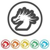 Mascotte de dragon, silhouette noire de dragon, 6 couleurs incluses Photographie stock