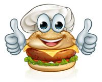 Mascotte de Food Cartoon Character de chef d'hamburger Photographie stock