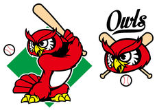 Mascotte de hibou de base-ball Photo libre de droits