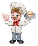 Mascotte de Holding Cake Cartoon de Baker Image libre de droits