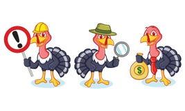 Mascotte de la Turquie avec l'argent Photos stock